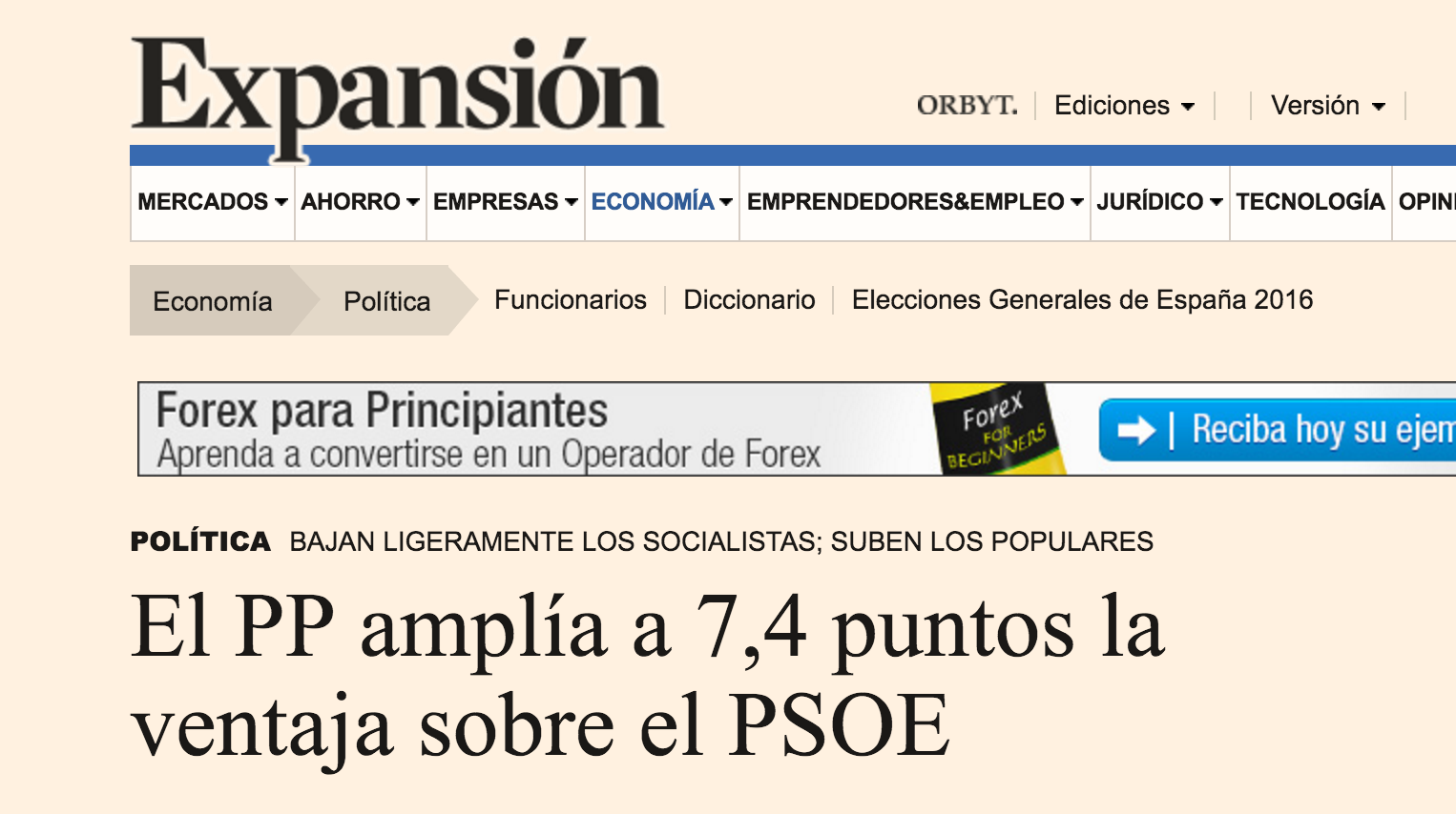El periódico económico Expansión publica la encuesta electoral realizada por Advice Strategic Consultants