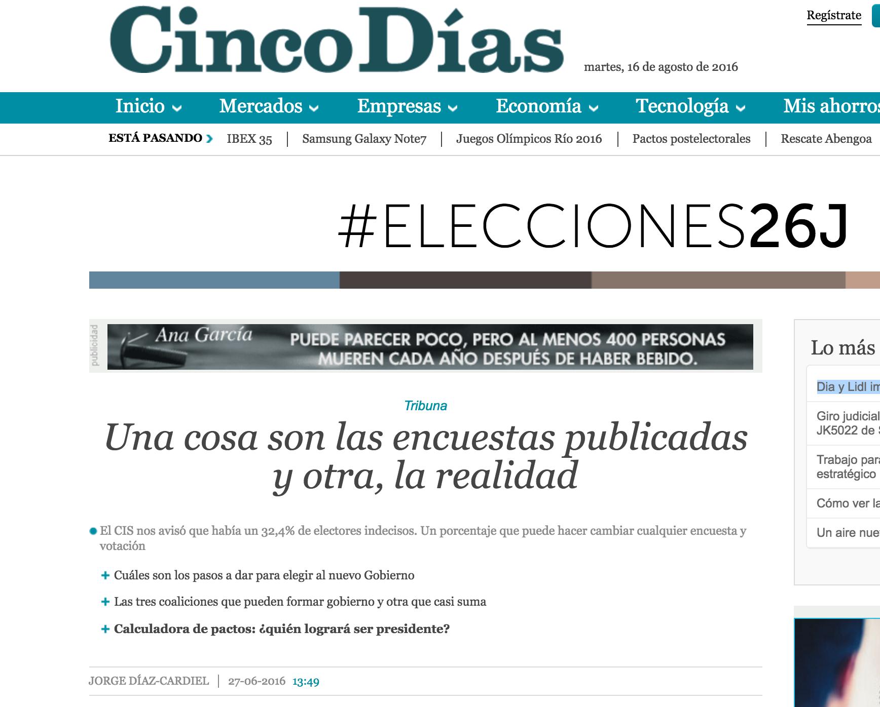 Artículo de Jorge Díaz-Cardiel sobre las elecciones generales en 'Cinco Días'