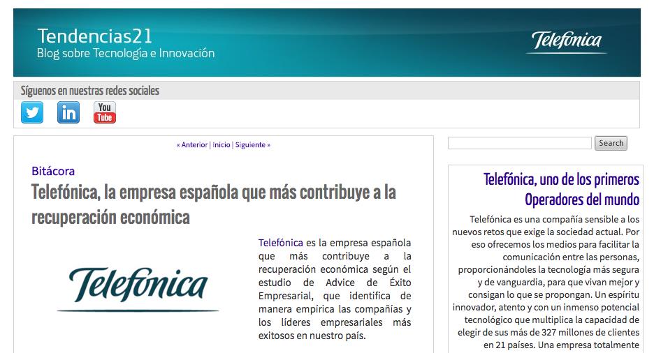 Noticia en el blog corportativo de Telefónica sobre los resultados del Estudio Advice