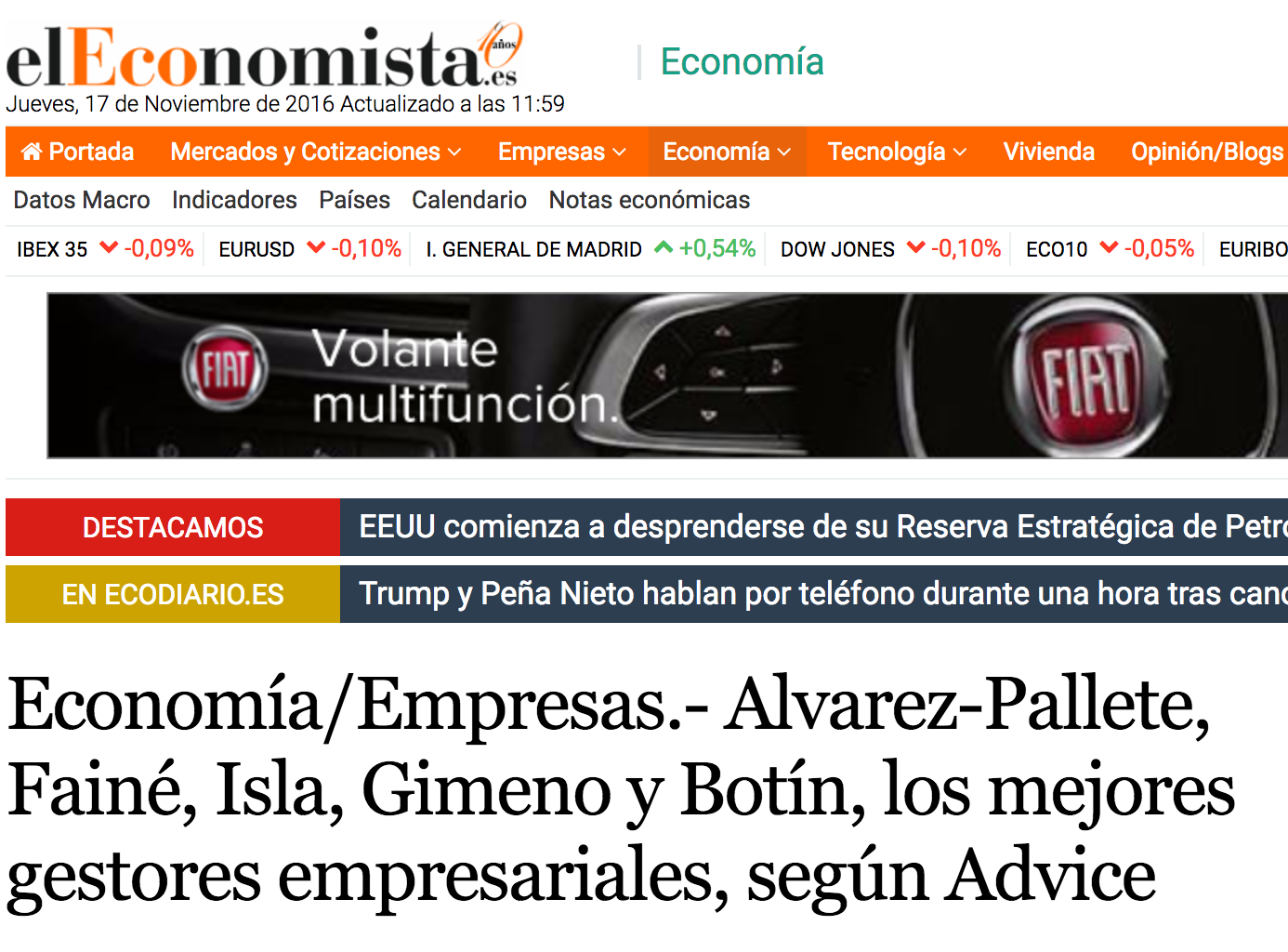 Noticia sobre el Estudio de Éxito Empresarial de Advice Strategic Consultants en 'El Economista'