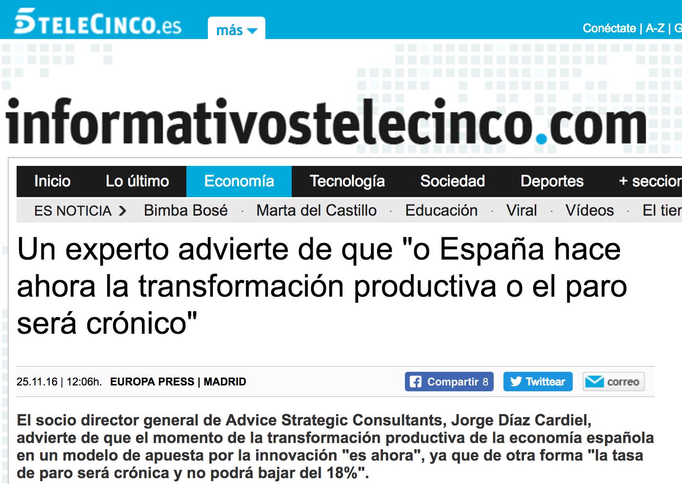 Noticia sobre el nuevo libro de Jorge Díaz-Cardiel en 'InformativosTelecinco.com'