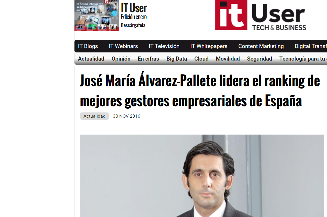 Noticia sobre el Estudio Advice de Exito Empresarial en 'IT User'