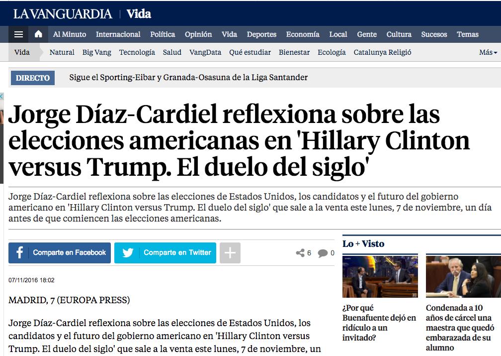 Noticia sobre el nuevo libro de Jorge Díaz-Cardiel en 'La Vanguardia'