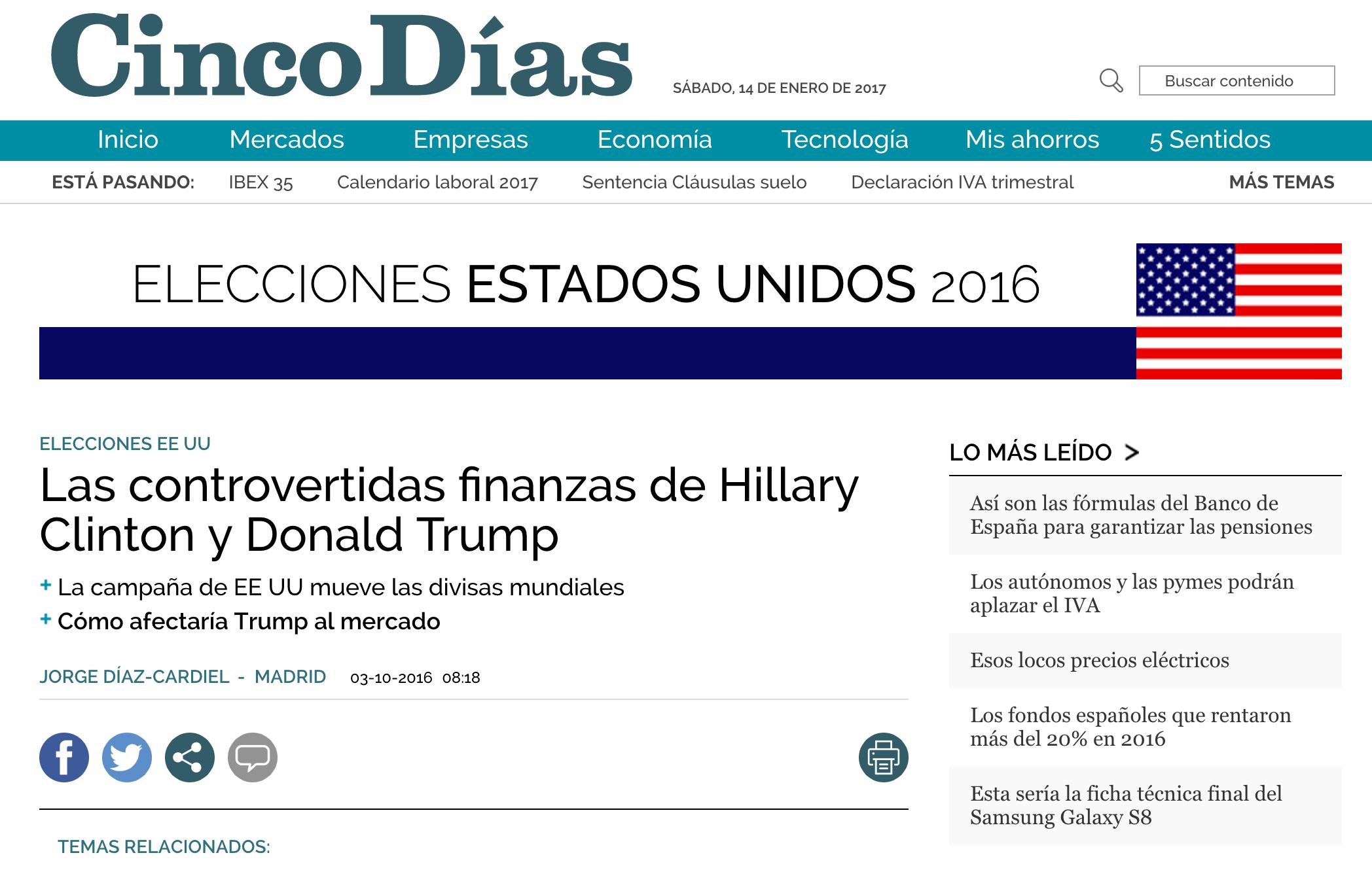 Artículo de Jorge Díaz-Cardiel sobre las elecciones americanas en 'Cinco Días'