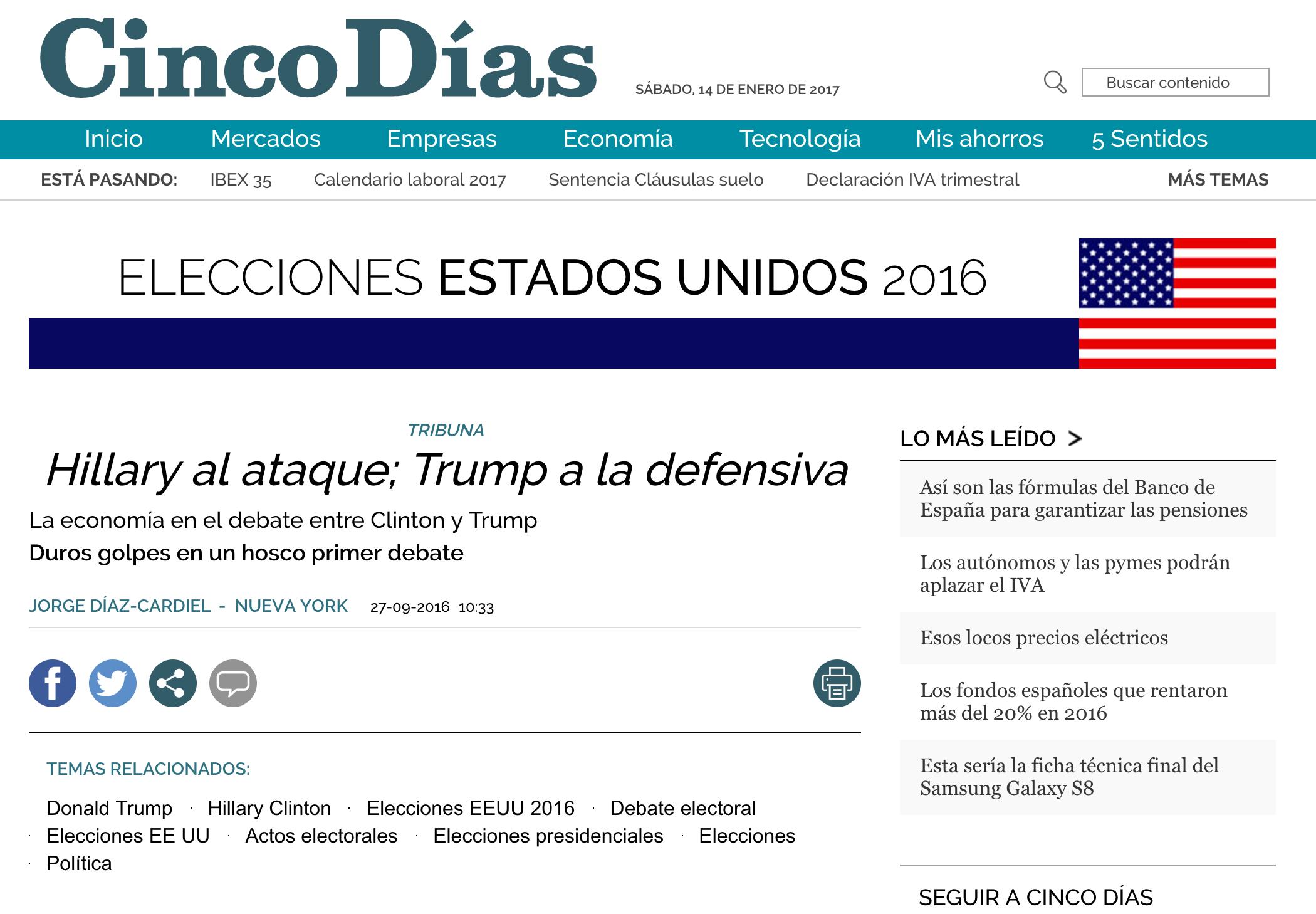 Articulo de Jorge Díaz-Cardiel sobre las elecciones americanas en 'Cinco Días'