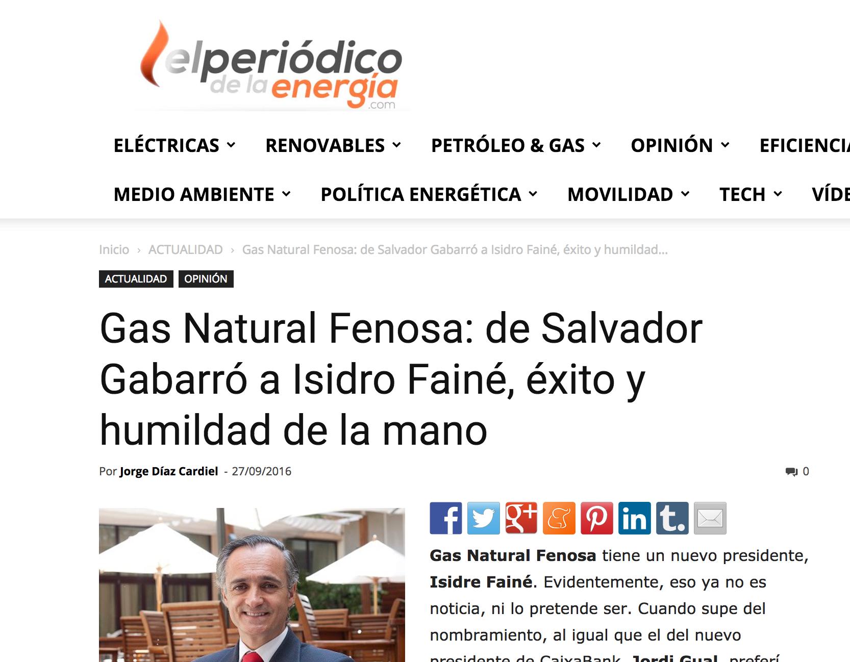 Articulo de Jorge Díaz-Cardiel sobre Gas Natural Fenosa en 'El Periódico de la Energía'