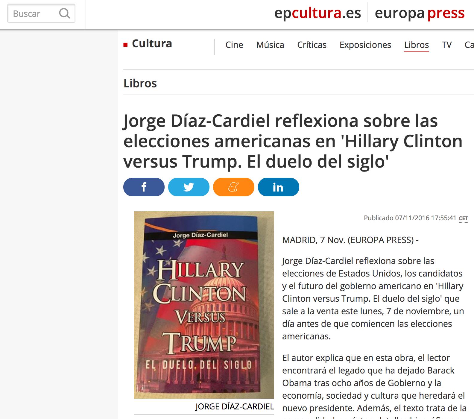 Noticia sobre el nuevo libro de Jorge Díaz-Cardiel en Europa Press