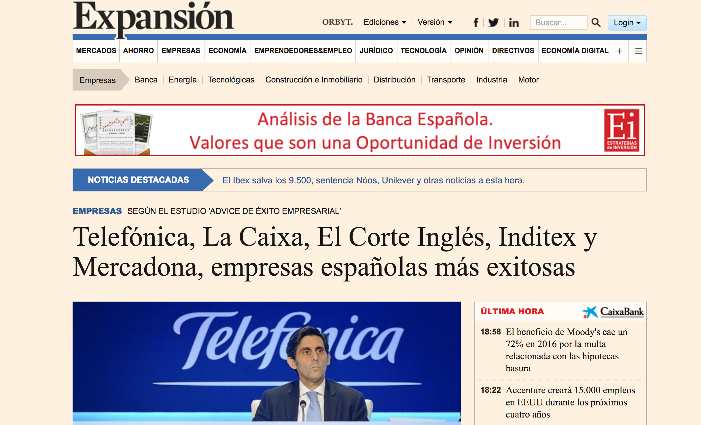 Noticia sobre el estudio Advice  en 'Expansion.com'