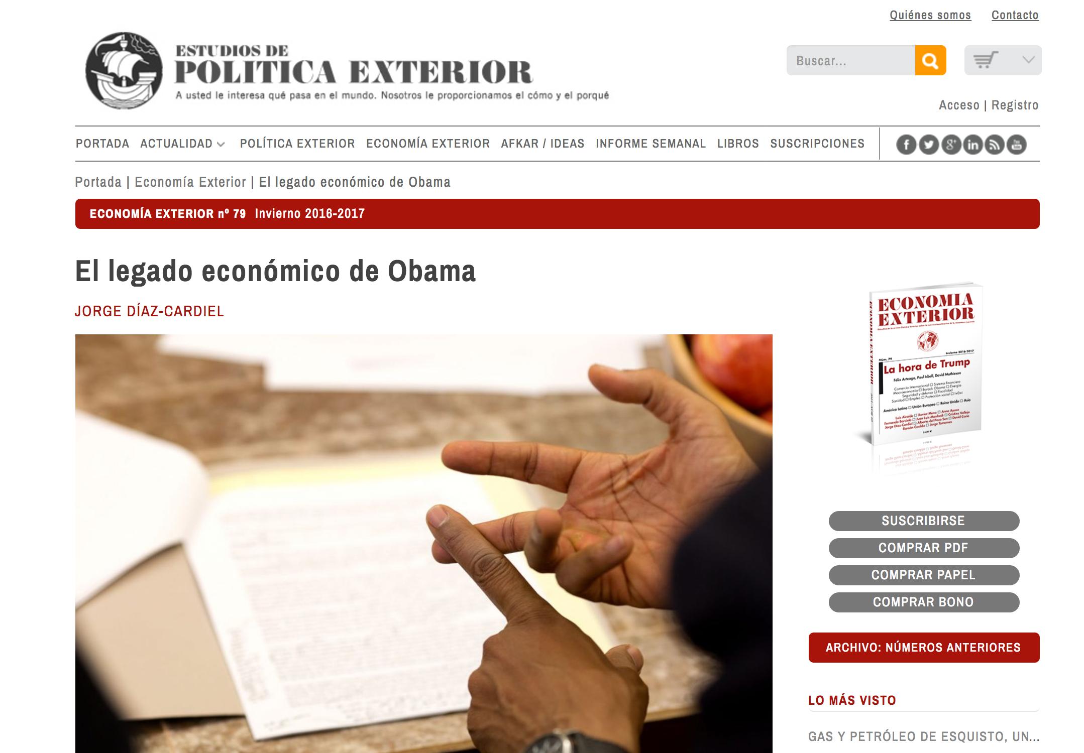 Artículo de Jorge Díaz-Cardiel  en 'Politica Exterior'