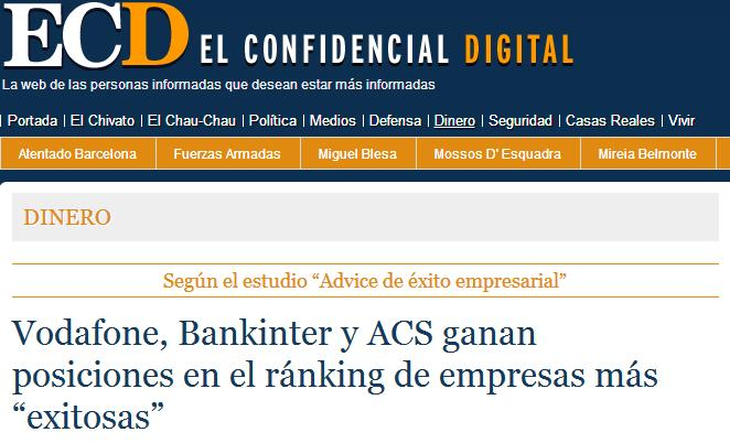 Press release about de results of the Advice's Business Success Study 'El Confidencial Digital'