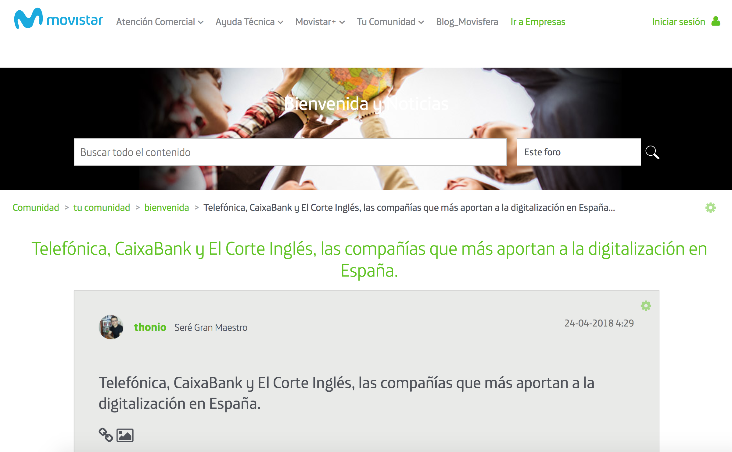 Noticia sobre Estudio Advice Éxito Empresarial en Comunidad Movistar