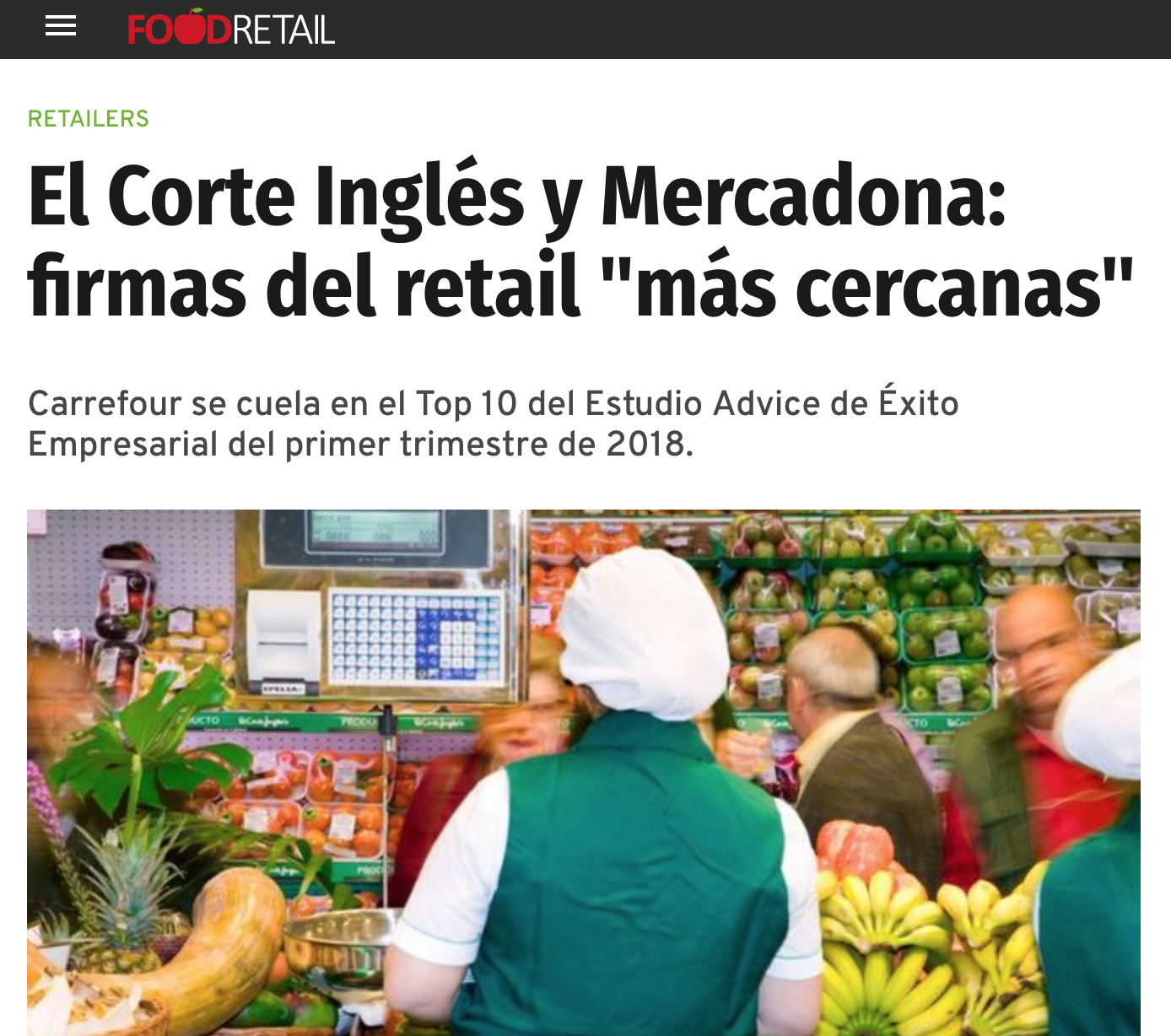 Noticia sobre Estudio Advice Éxito Empresarialen Food Retail