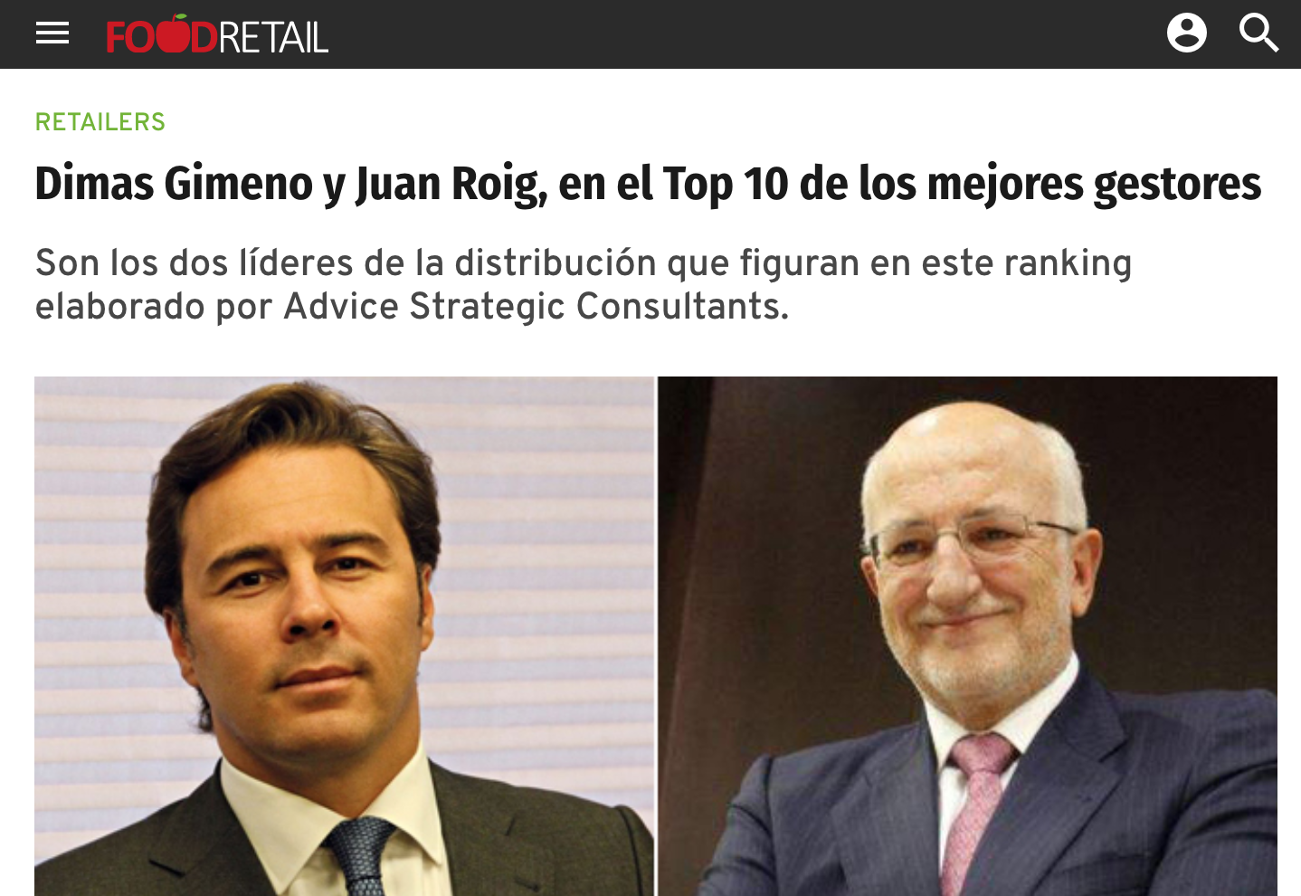 Noticia sobre Estudio Advice Éxito Empresarial en Food Retail