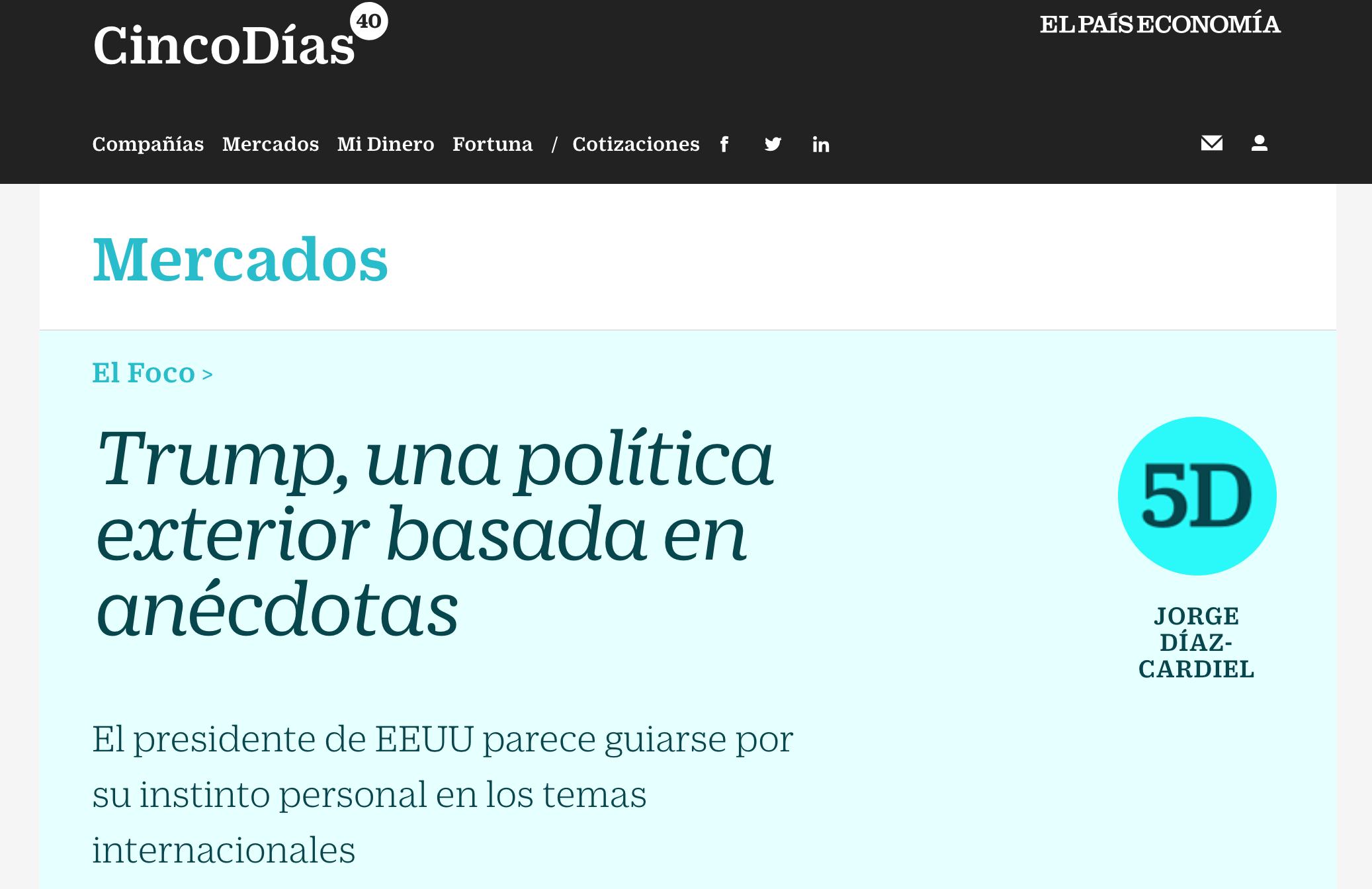 Artículo de Jorge Díaz-Cardiel en Cinco Días - El País Economía