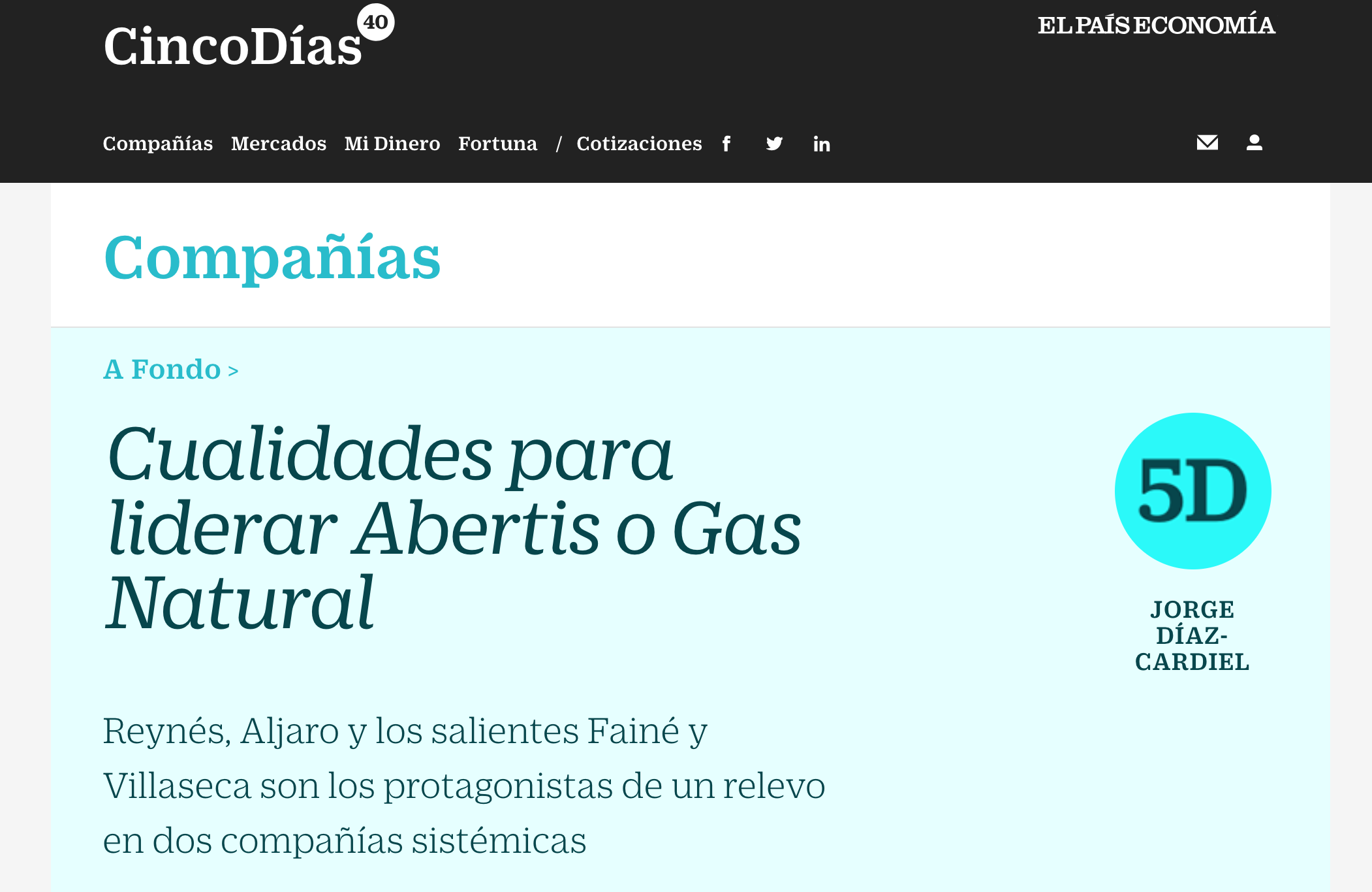 Artículo de Jorge Díaz-Cardiel en Cinco Dias - El País Economía