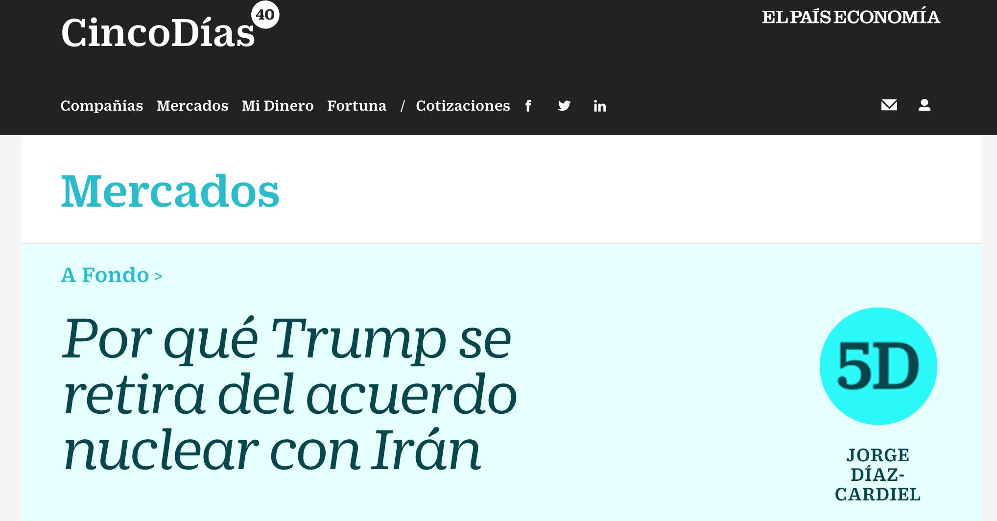 Article by Jorge Díaz-Cardiel in Cinco Días – El País Economía