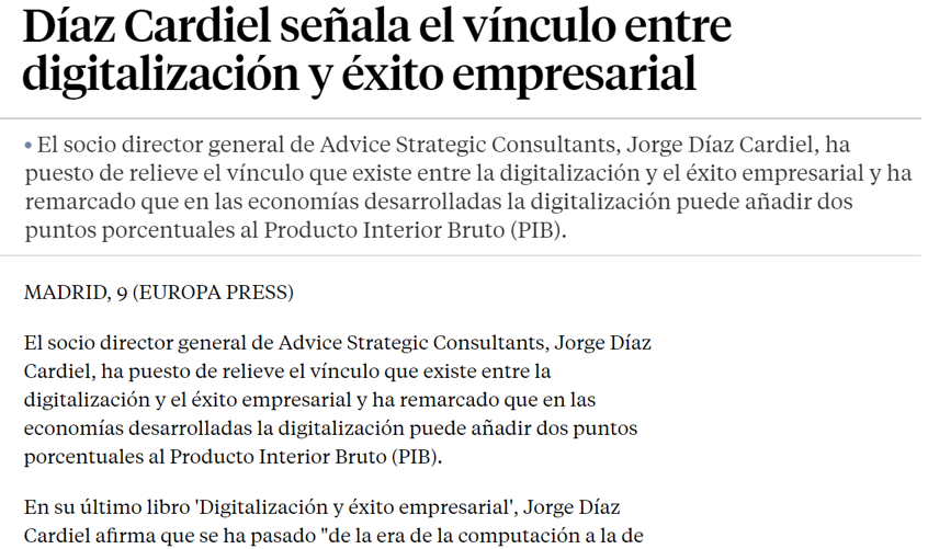 News about Jorge Díaz-Cardiel in 'La Vanguardia'