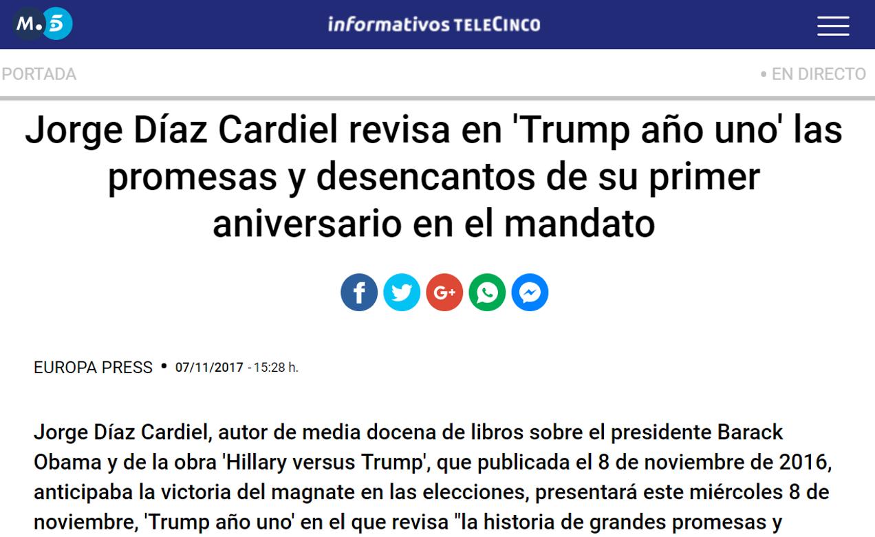 News about the book 'Trump año uno'' by Jorge Díaz-Cardiel in 'Informativos Telecinco'