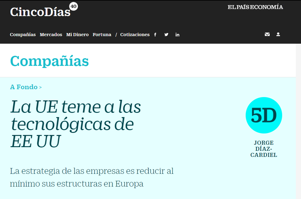 Article by Jorge Díaz-Cardiel in 'Cinco Días – El País Economía'