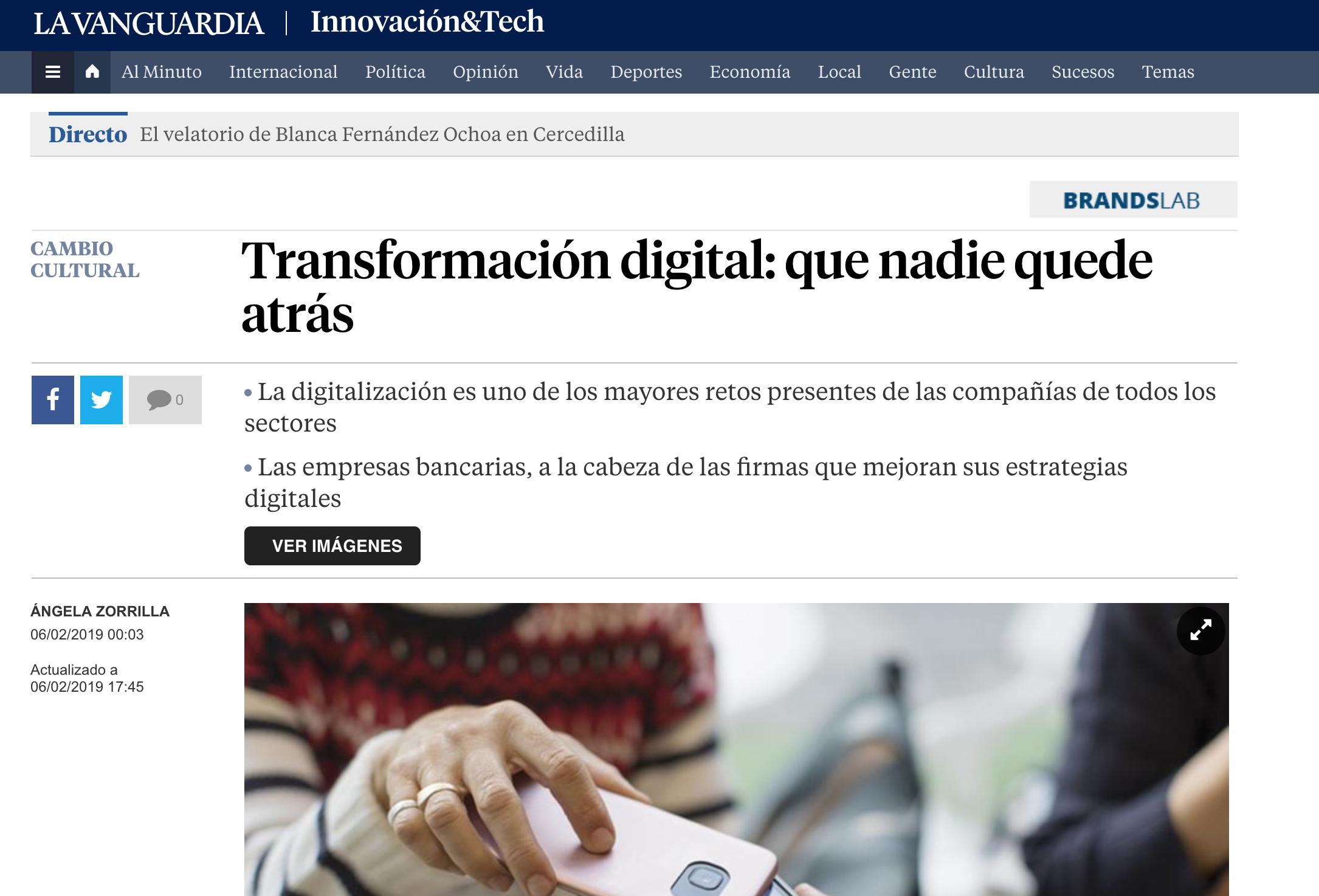 Articulo sobre el estudio Advice en La Vanguardia