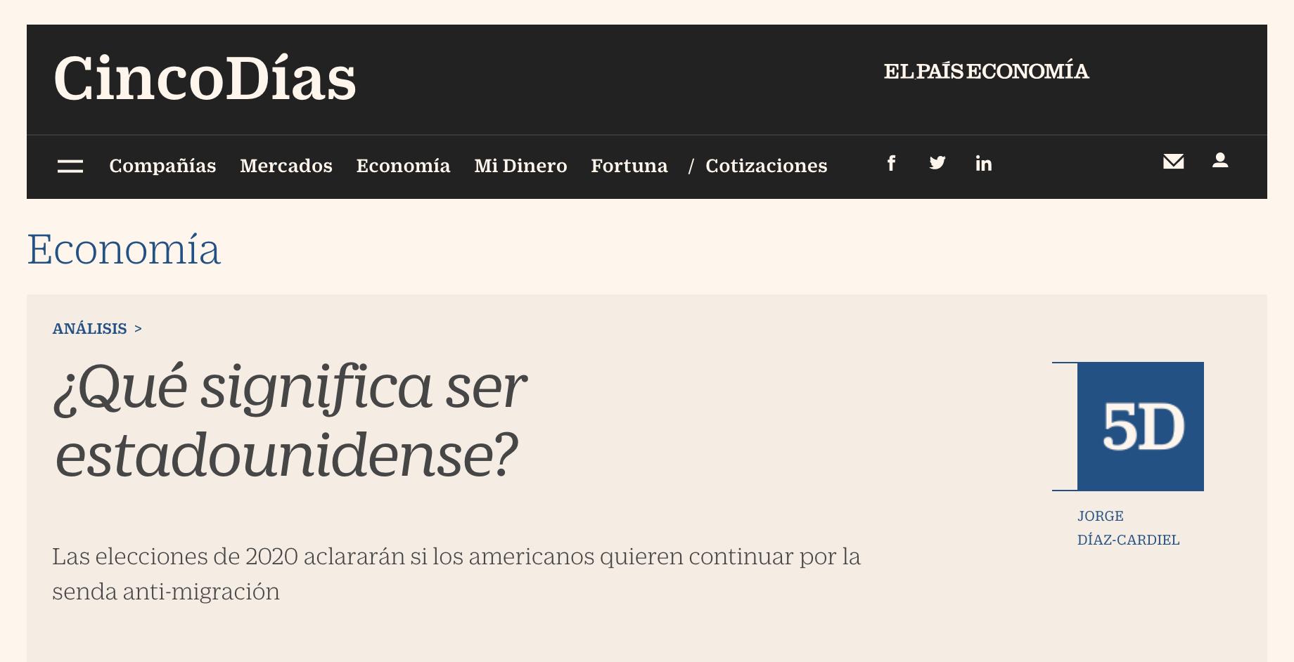 Article by Jorge Díaz-Cardiel in Cinco Días