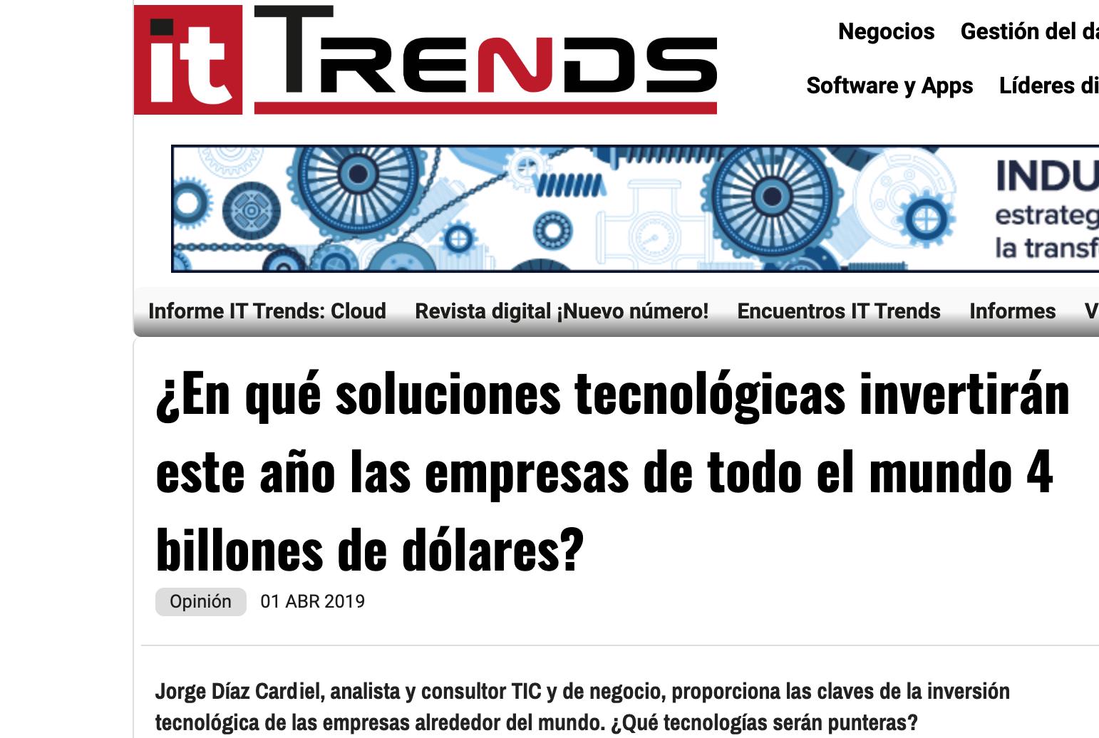 Artículo de Jorge Díaz-Cardiel en IT Trends