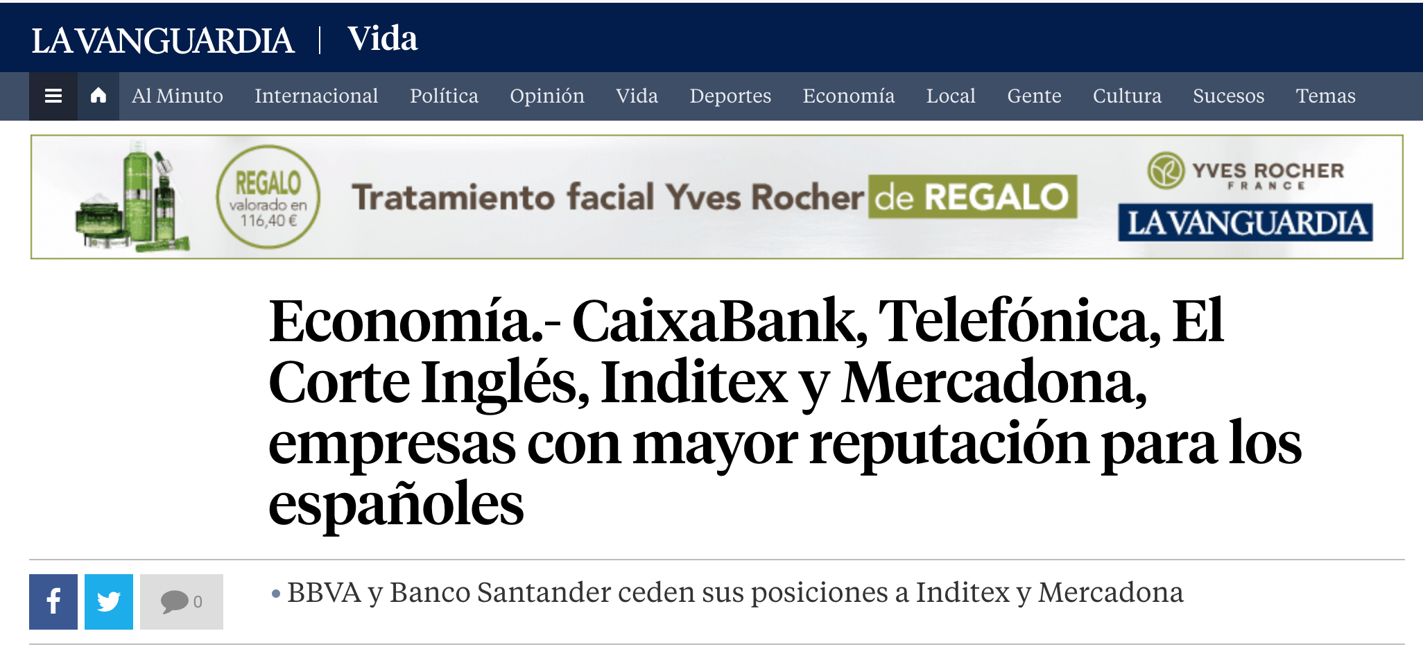 Noticia sobre el Estudio Advice en La Vanguardia