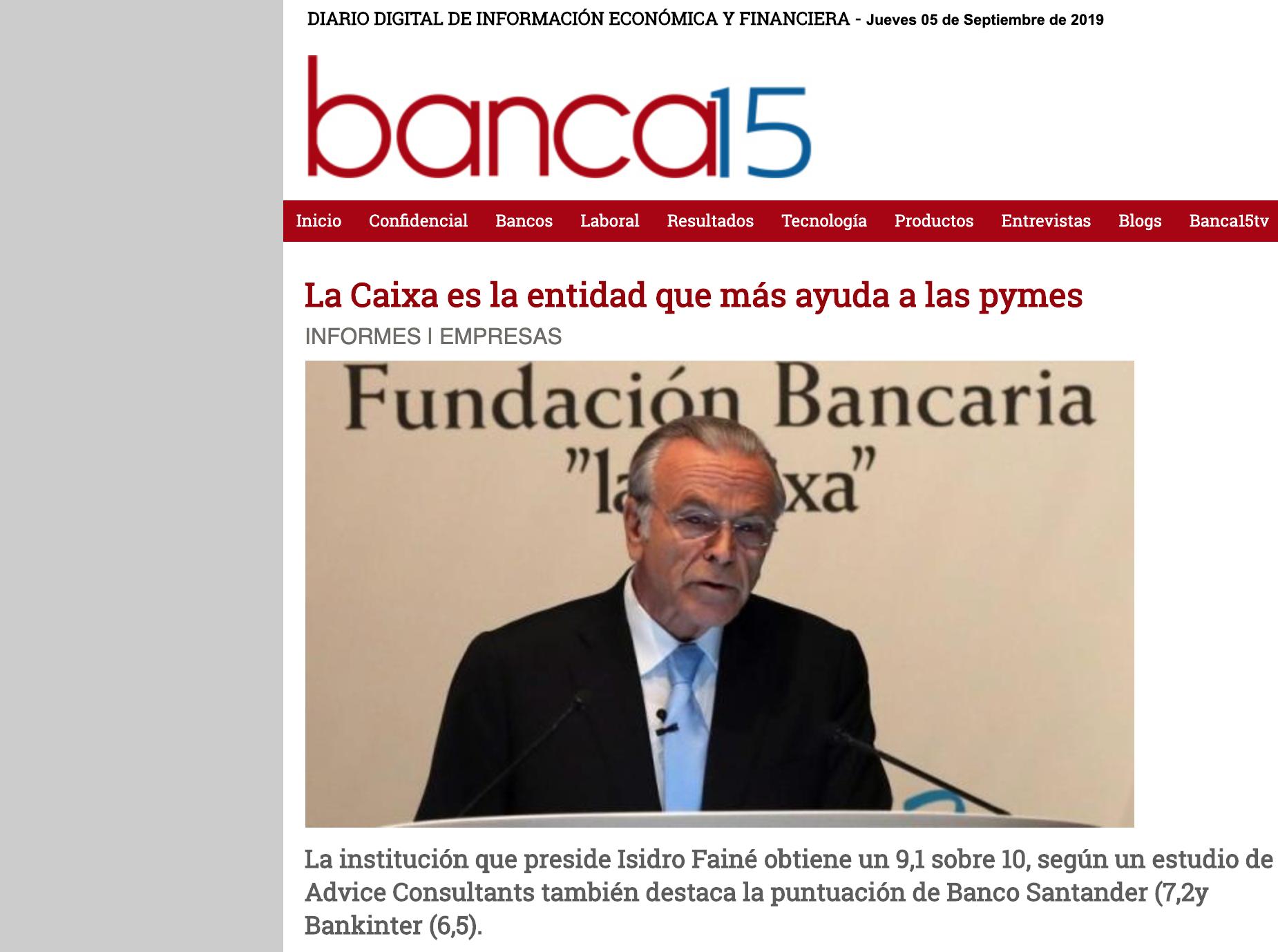 Artículo sobre el estudio Advice en Banca15