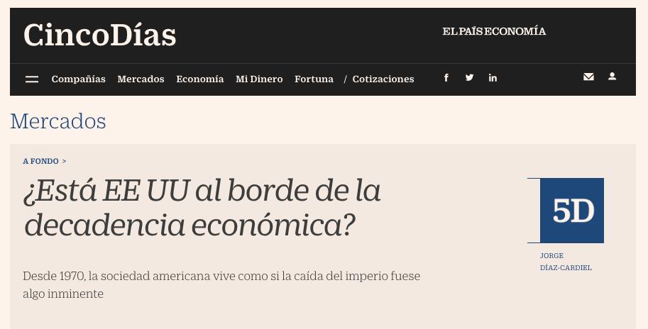 Artículo de Jorge Díaz-Cardiel en Cinco Dias