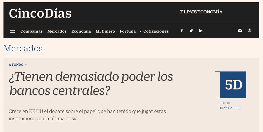 Article by Jorge Díaz-Cardiel in Cinco Dias
