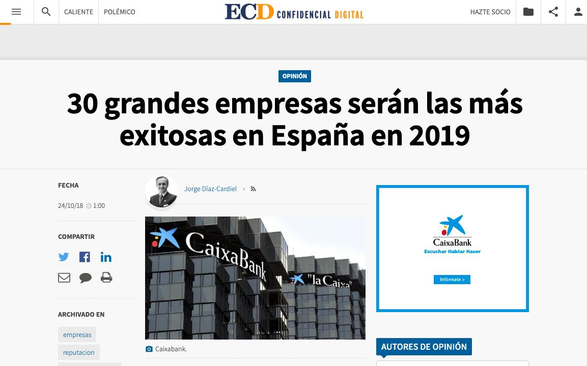 Article by Jorge Díaz-Cardiel in El Confidencial Digital